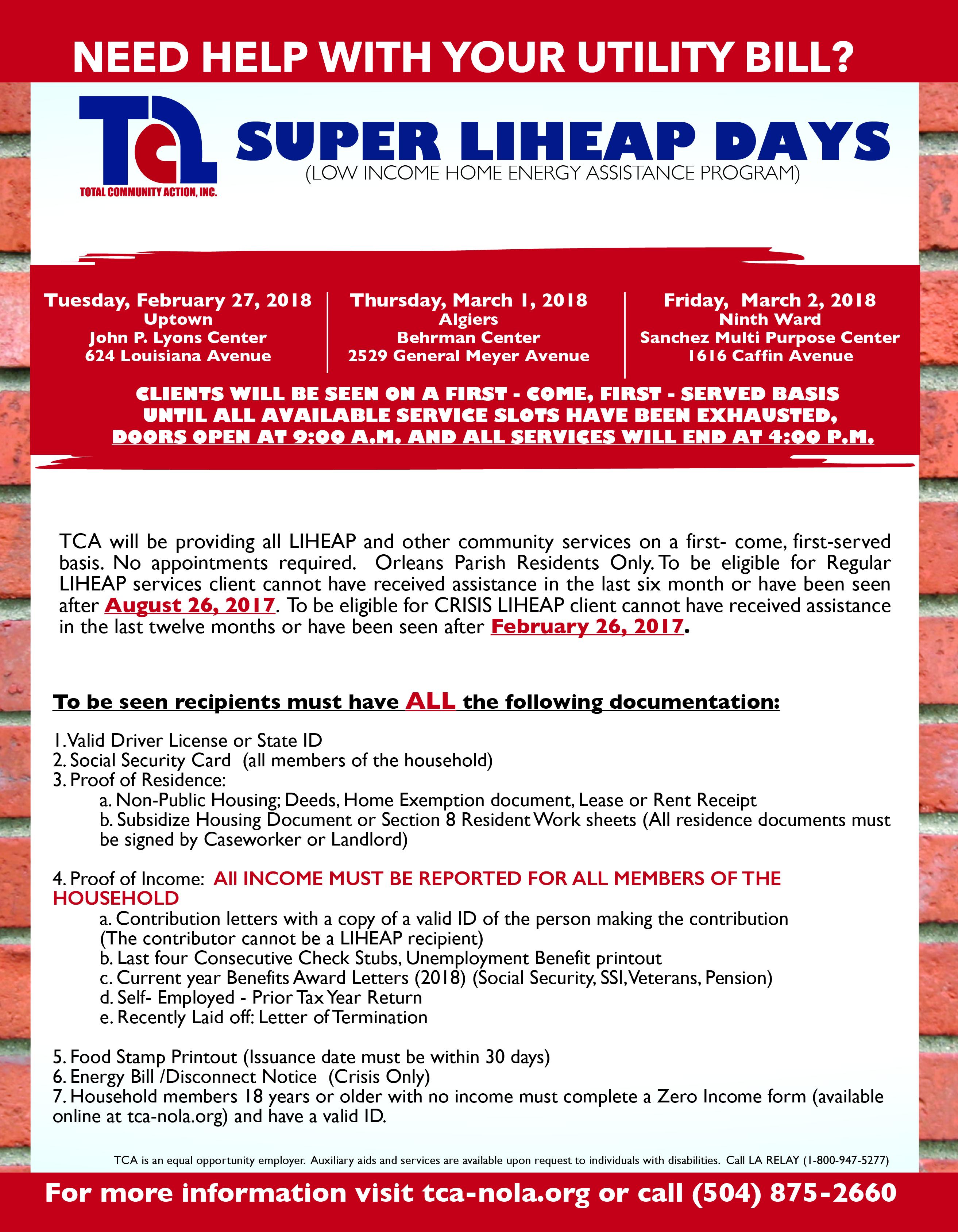 2018 Super LiHEAP Days (Rescheduled Dates) | Total Community